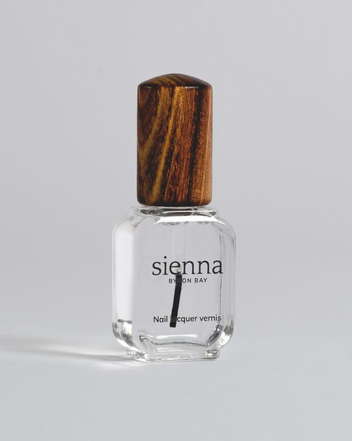 top coat nail polish bottle with timber cap by sienna