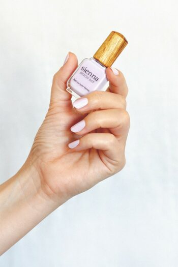 Light lilac pastel nail polish hand swatch