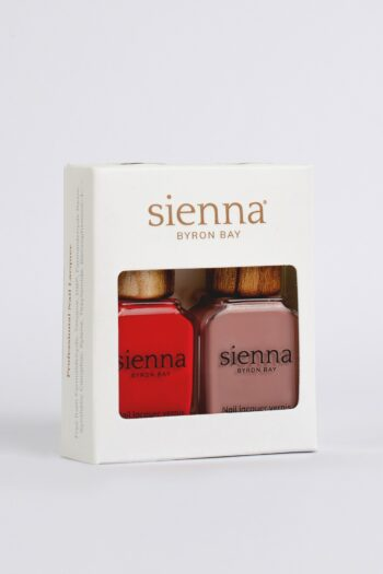 red and mauve nail polish glass bottles with timber cap in white cardboard box by sienna