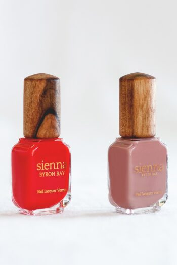 Red and nude pink nail polish glass bottle with timber cap by sienna