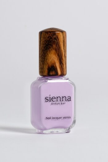 lilac nail polish bottle with timber cap by sienna