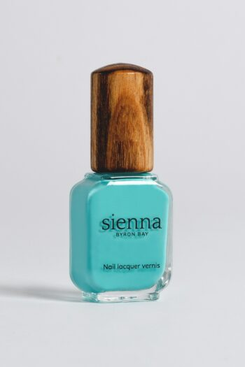 aqua nail polish bottle with timber cap by sienna