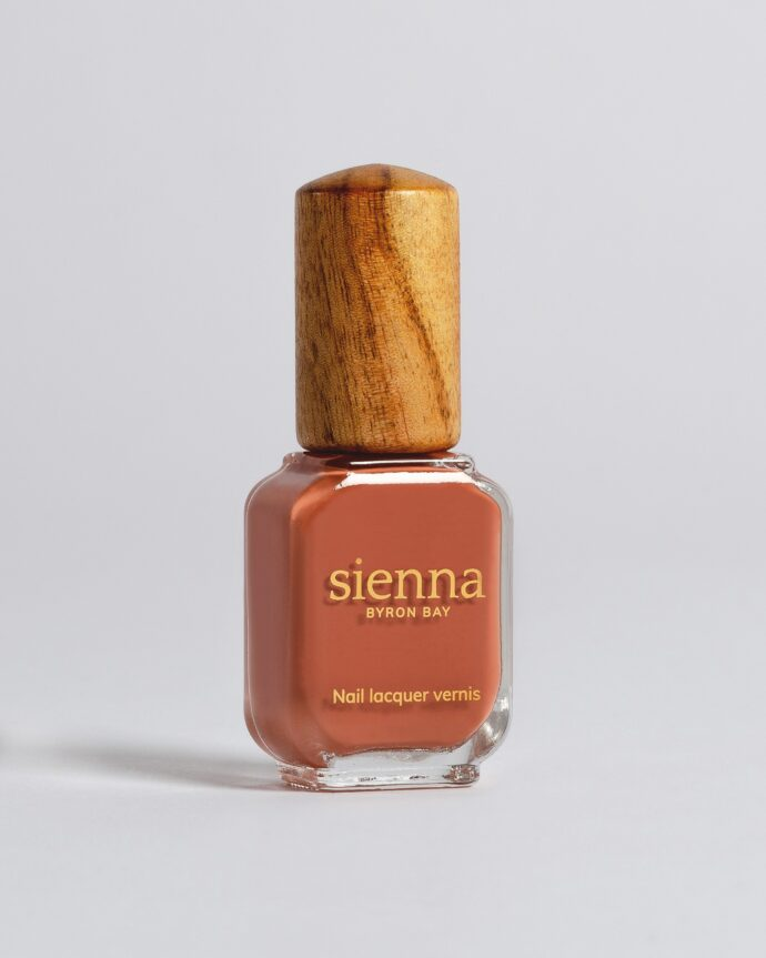 terracotta nail polish bottle with timber cap by sienna