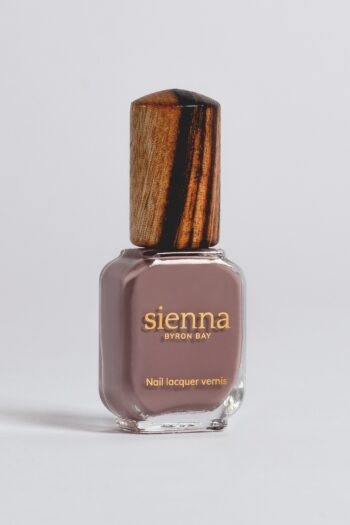 purple grey nail polish bottle with timber cap by sienna