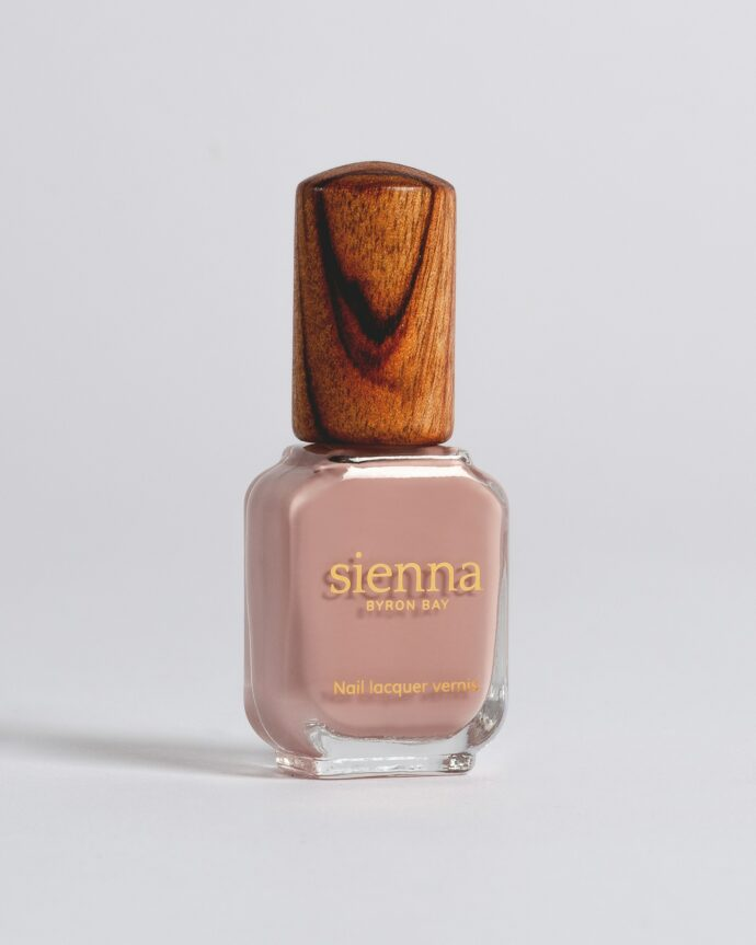 dusty rose nail polish bottle with timber cap by sienna