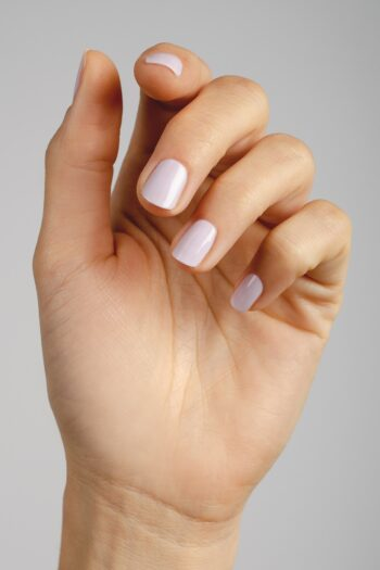 pastel lilac nail polish hand swatch on fair skin tone by sienna