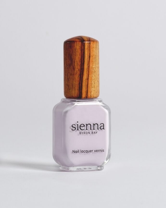 pastel lilac nail polish bottle with timber cap by sienna