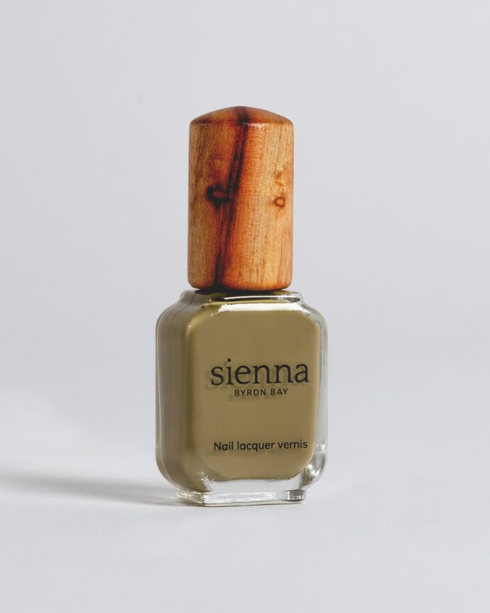 kaki green nail polish bottle with timber cap by sienna