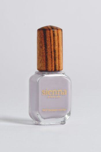 light purple-grey nail polish bottle with timber cap by sienna